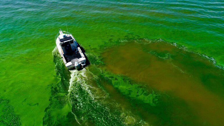 LimnoTech boat driving through a harmful algal bloom in Lake Erie