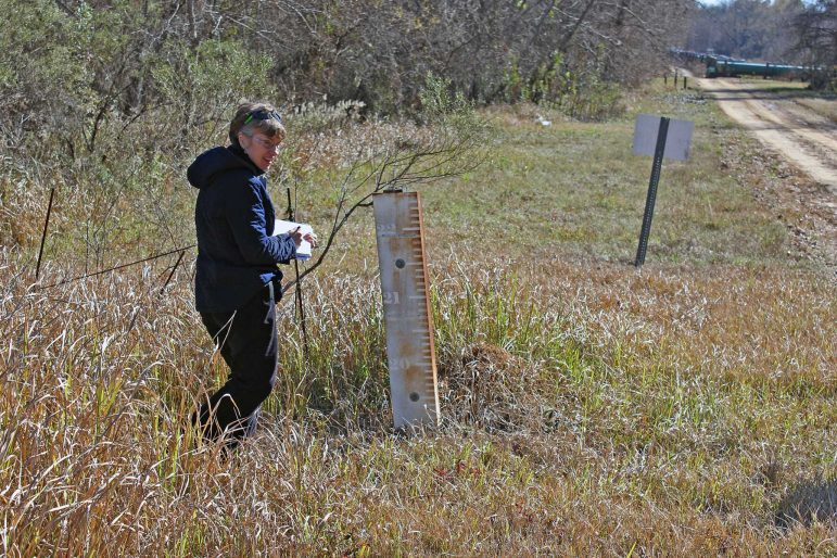 Joyce Dunkin of LimnoTech working on a field investigation