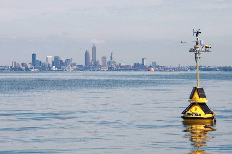 Smart buoy deployed in Lake Erie nearshore of Cleveland, Ohio